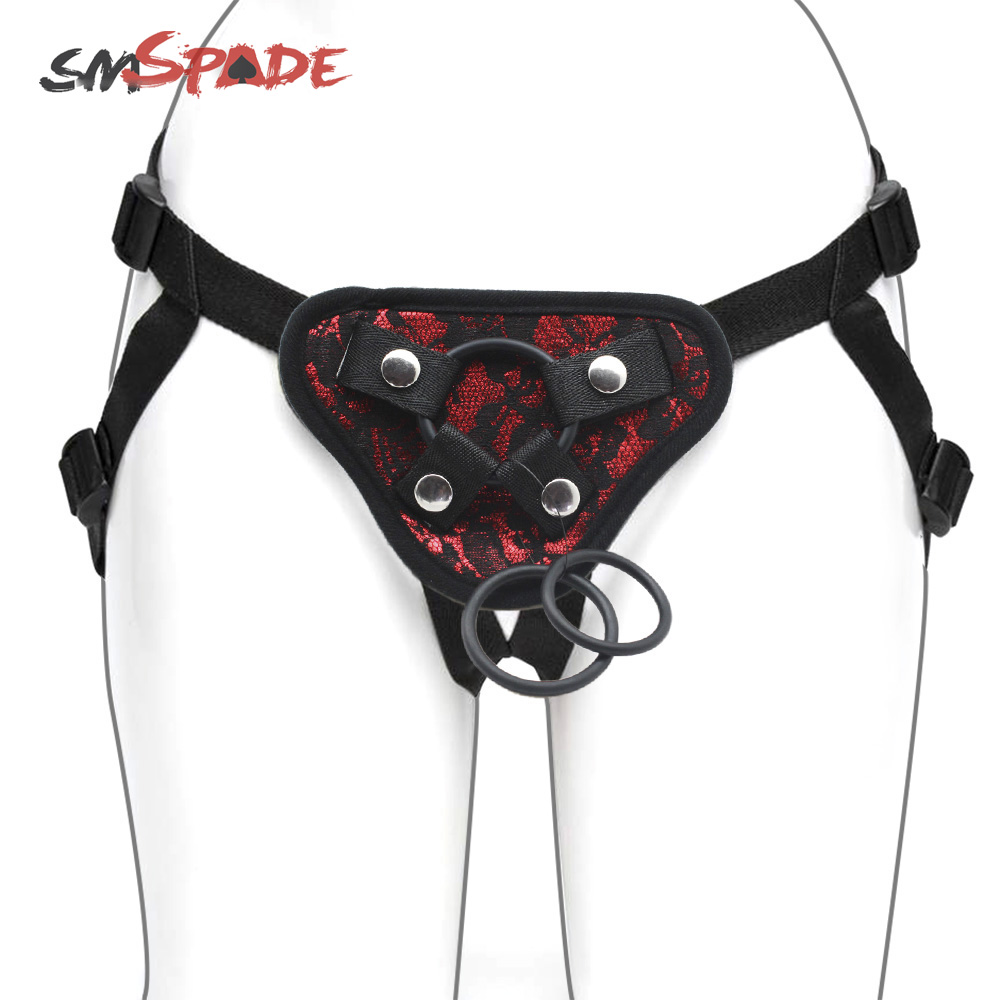 SMSPADE Seduction Black With Red Lace Strapon Dildos Harness Lesbian Couples Sex Products Adult Game Sex Toy