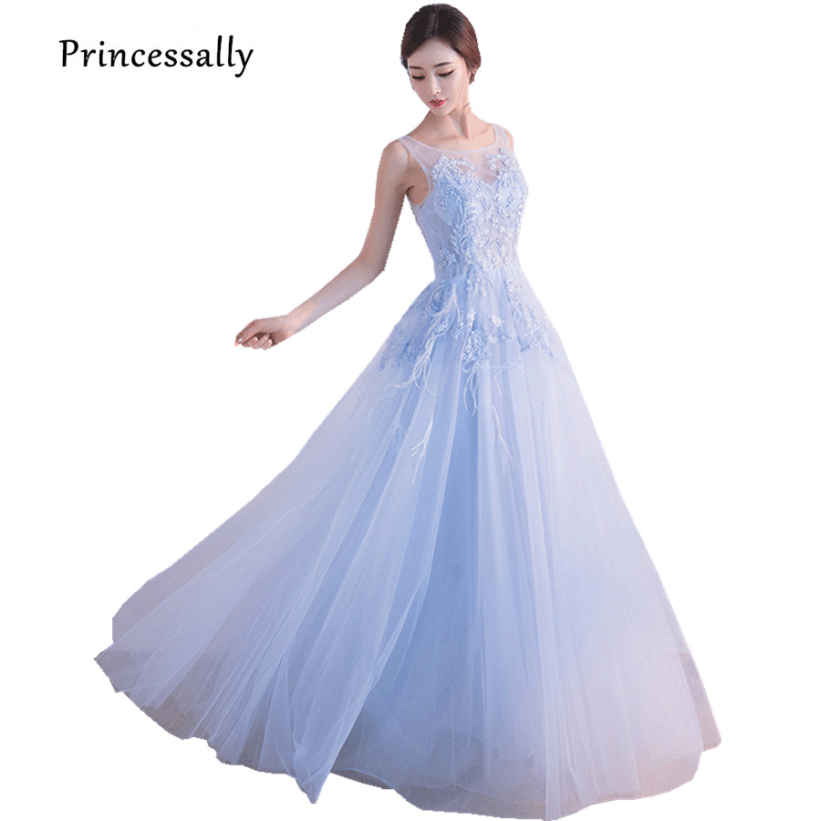 Princessally New Sweet Blue Evening Dress Floor-length Illusion Scoop Appliques Beading Delicate Bride Formal Prom Party Gown