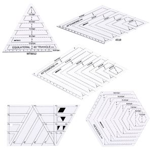 Image 1 - 5pcs/set Quilting Sewing Patchwork Craft Scale Ruler Triangle DIY Handmade Tailor Home Tools