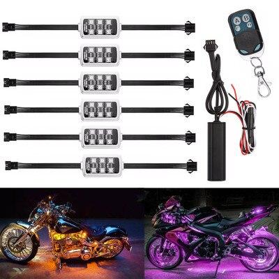 1set Music Control 36 LED Wireless RGB LED Car Motorcycle Light with Smart Brake Light Interior Decorative Atmosphere Strip Ligh