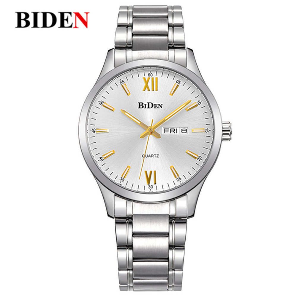 Simple Golden Number Men Watch Genuine Calendar Waterproof Stainless Steel Silver Luxury Fashion Quartz Watch erkek kol saati