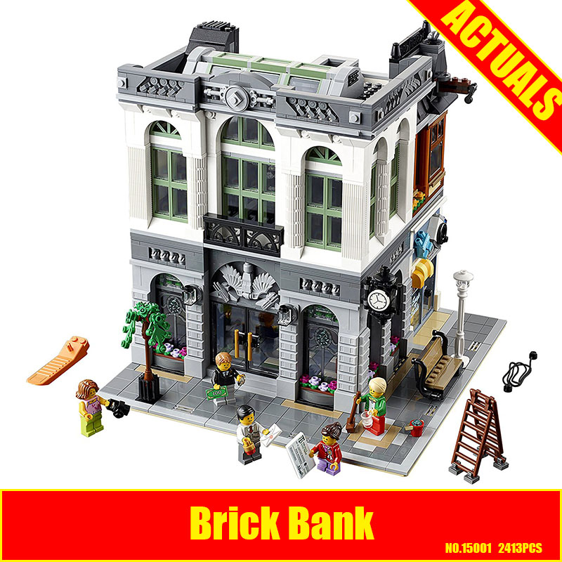 2017 New LEPIN 15001 2413Pcs Brick Bank Model Building Kits Blocks Bricks Toy Compatible With 10251 DIY Funny Educational Gift a toy a dream lepin 15008 2462pcs city street creator green grocer model building kits blocks bricks compatible 10185