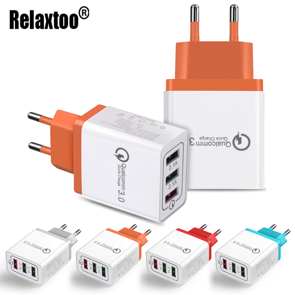 Quick Charge 3.0 9V1.8A/5V2.4A/12V1.5A Mobile Phone Charger 3 usb port for iPhone EU Adapter for Samsung Xiaomi USB Charger