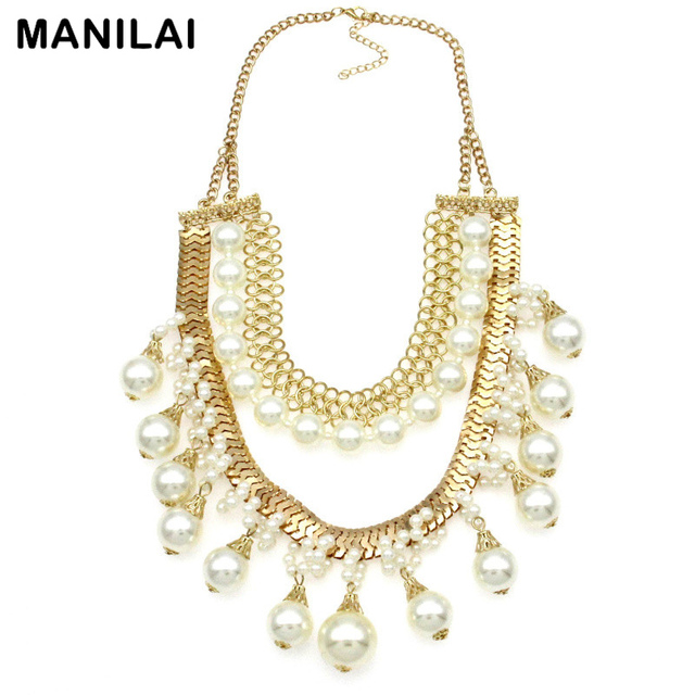 MANILAI Fashion Layers Design Party Statement Jewelry Chains Collar Chokers Imitation Pearls Pendant Necklaces For Women Dress