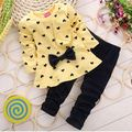 Autumn Baby Girl Clothing Heart-shaped Print Bow Cute 2PCS Cloth Set Children Cloth Suit Top T shirt + Pants TrackSuits YCZ020