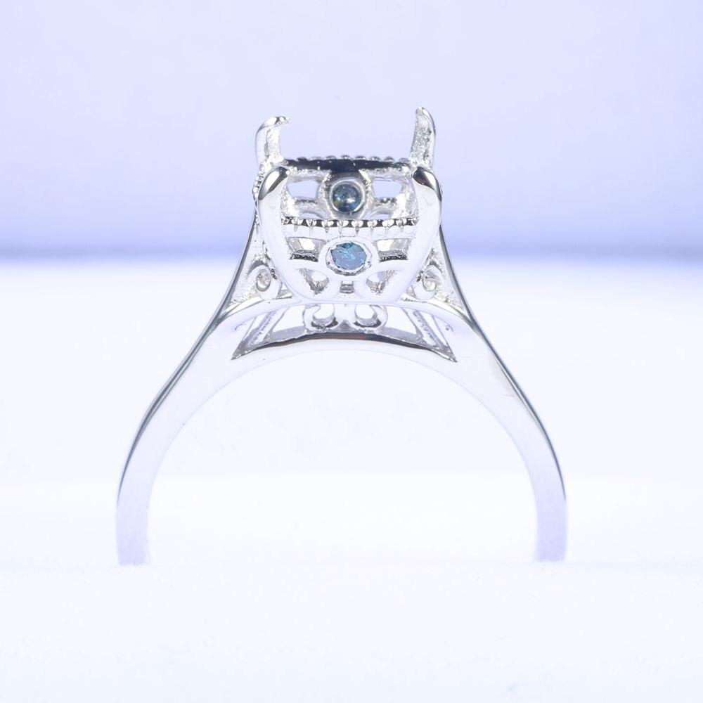 BAIHE Solid 18k White Gold(AU750) 7.5x7.5mm Cushion Cut Semi Mount 100% Natural Blue Diamonds Fine Jewelry RBAIHE Solid 18k White Gold(AU750) 7.5x7.5mm Cushion Cut Semi Mount 100% Natural Blue Diamonds Fine Jewelry R