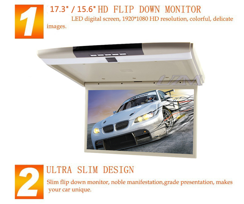 "Sale Stylish 17.3"" / 15.6"" Color TFT LCD Display 12V~24V Roof Mount Car Monitor Flip Down Car Monitor Player HD 1080P HDMI USB SD FM 1"