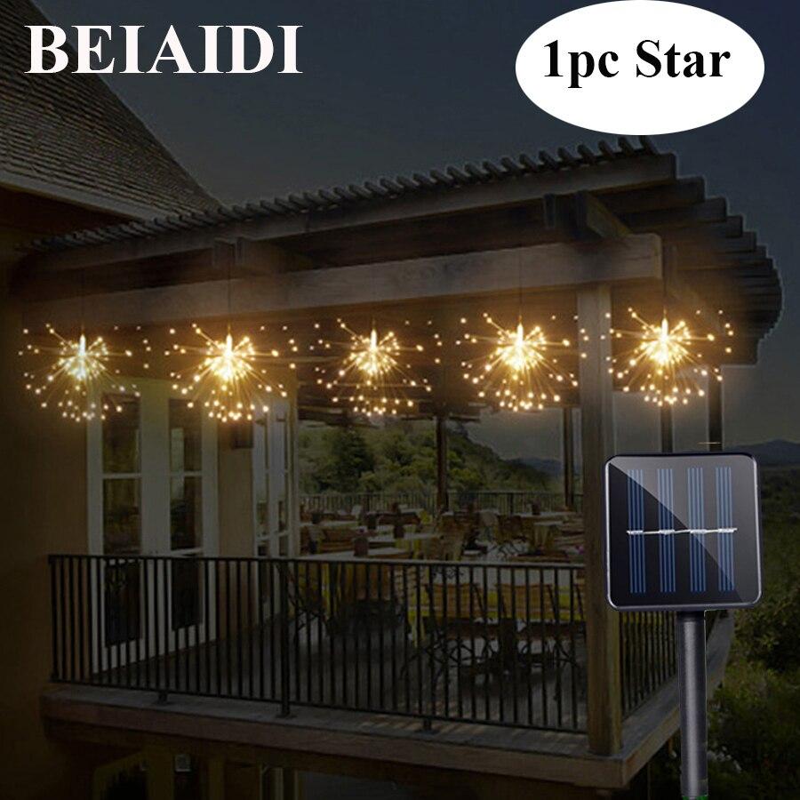 BEIAIDI Solaire Hanging Starburst Chaîne Lumière 200 Leds DIY Cuivre Fée Guirlande De Noël De Noce Twinkle Lumières