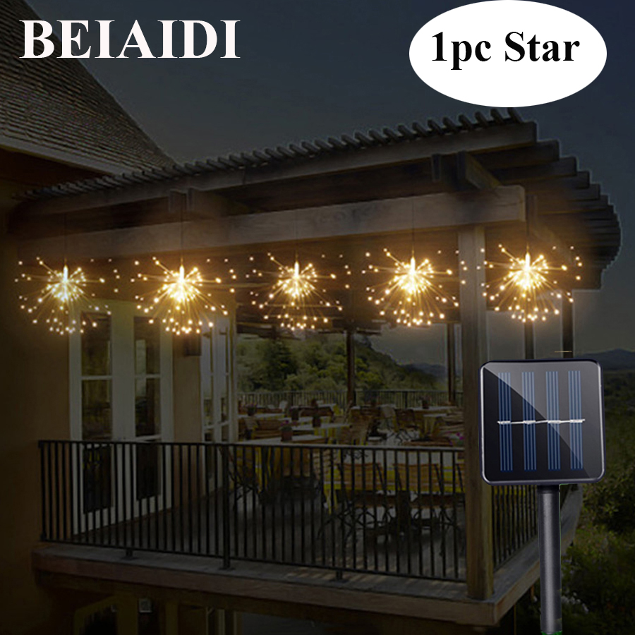 BEIAIDI Solar Powered Hanging Starburst String Light 200 Leds DIY Copper Fairy Garland Christmas Wedding Party Twinkle Lights 200 leds diy hanging starburst string light solar powered firework copper fairy garland christmas wedding twinkle lights ca79