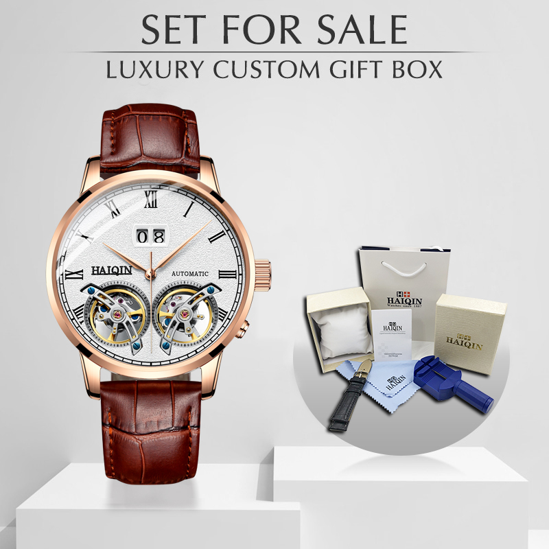 Machines automatiques d'affaires Double Tourbillon montre hommes HAIQIN hommes montres Top marque de luxe militaire sport horloge reloj hombre-in Montres mécaniques from Montres    1