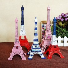 three-color color mixing powder blue white Tower Paris home decoration  desk Retro and Nostalgic