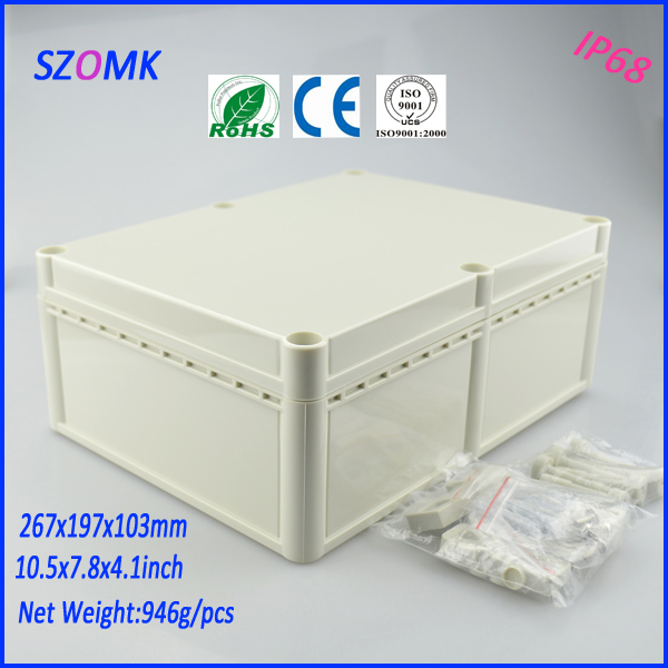 waterproof plastic enclosure (2 pcs)267*197*103mm abs control plastic enclosures distribution box  electronic case 1 piece distribution box plastic box electronics wall mount abs din rail case control box 145x90x40mm