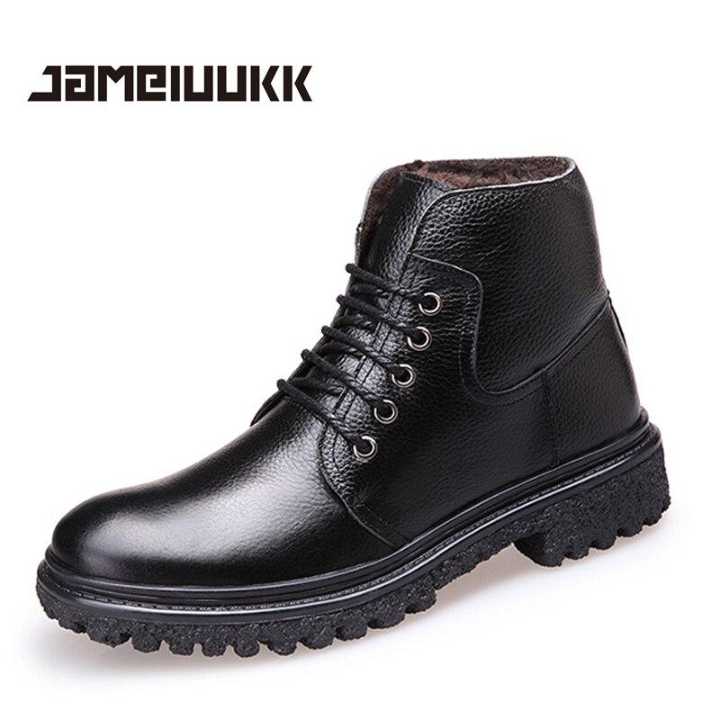 2016 CAMELUUKK Genuine Leather winter warm boots fashion