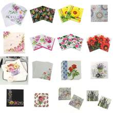 20 stks/pak Bruiloft Gedrukt Feature Rose Bloem Papier Servetten Voor Event & Party Decoratie Tissue Decoupage Servilleta 33cm * 33cm(China)