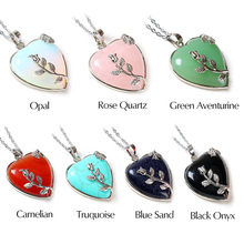 Opal Heart Stone Pendant Chain Necklace Silver Leaf