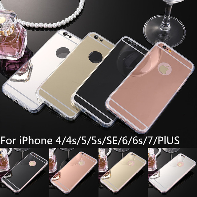 Luxury Soft TPU Case For iPhone 7 6 6s Plus SE 5s 5 4s 4 Mobile Phone Bags Case Mirror Plating PC Back Coque Cover Fundas