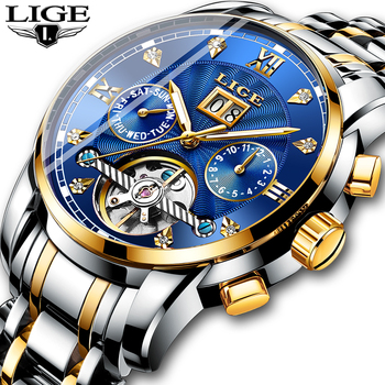 Новый LIGE Для мужчин часы мужской лучший бренд класса люкс автоматические механические часы Для мужчин Водонепроницаемый полный Сталь Бизн...