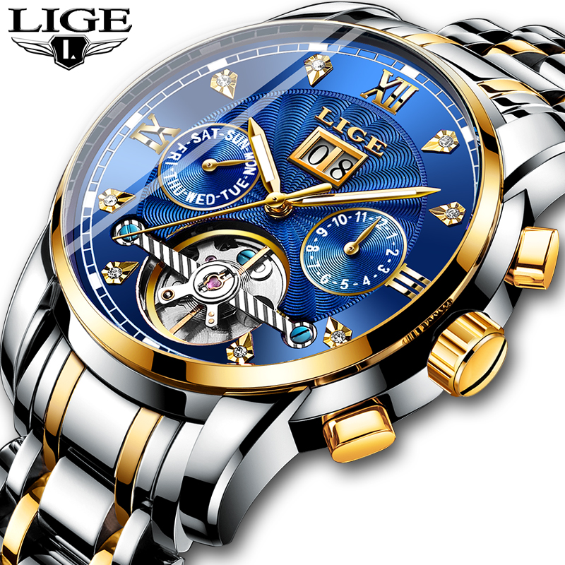 New LIGE Men Watches Male Top Brand Luxury Automatic Mechanical Watch Men Waterproof Full Steel Business Watch Relogio Masculino