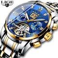 Nova LIGE Homens Relógios Top Marca de Luxo Relógio Mecânico Automático Dos Homens do Sexo Masculino Relógio À Prova D' Água de Aço Completa Negócios Relogio masculino