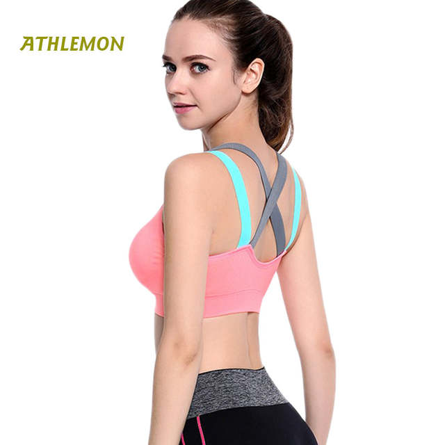 03d13c6f76374 Fitness Shockproof Running Gym Sports Bra Push Up Padded Back Pocket Lulu  Yoga Brassiere Woman Activewear