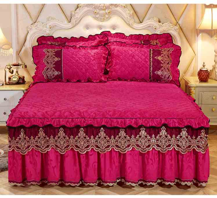 Home Textile Velvet Thick Bed Sheet Pillowcases set Luxury Solid Princess Bedding Bed Skirt 1/3pcs Lace Bedspread Mattress CoverHome Textile Velvet Thick Bed Sheet Pillowcases set Luxury Solid Princess Bedding Bed Skirt 1/3pcs Lace Bedspread Mattress Cover