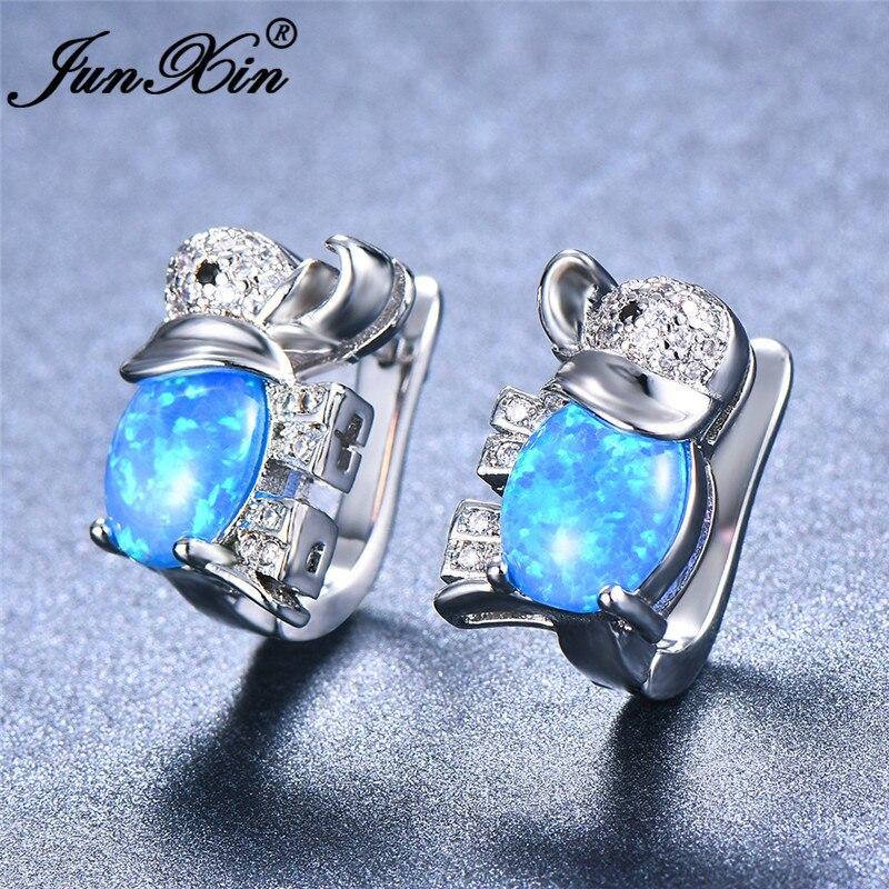 JUNXIN Cute Animal Elephant Stud Earrings For Women White Gold Filled Blue/White Fire Opal Earrings Pave Crystal Wedding Studs