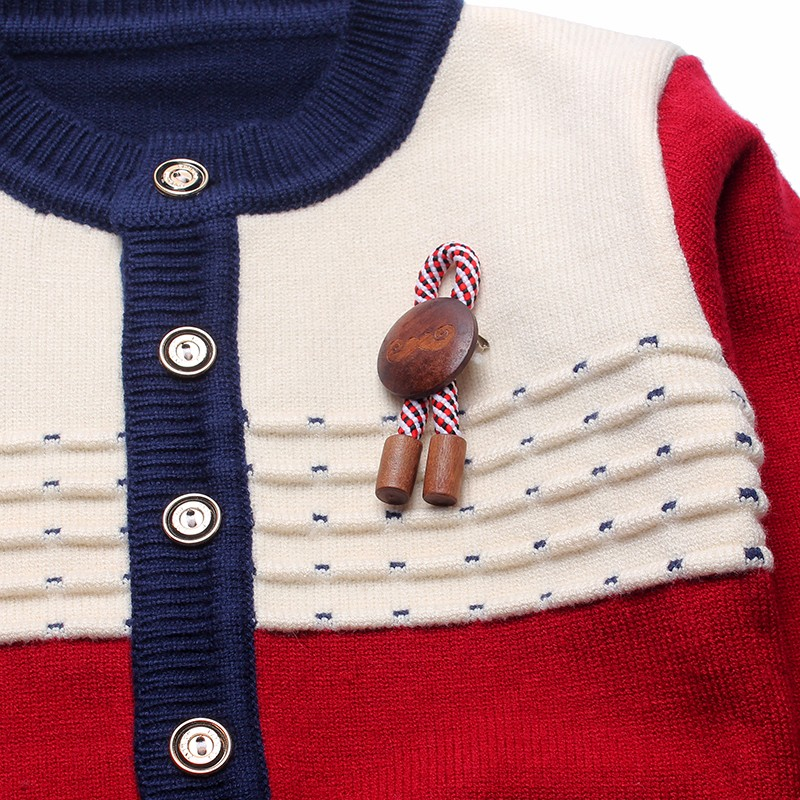 Boys Sweaters Print Cotton Top Knit Infant Outfit With Button Boy Corsage Outerwear Winter Warm Apparel Cardigan Knitted Clothes (6)