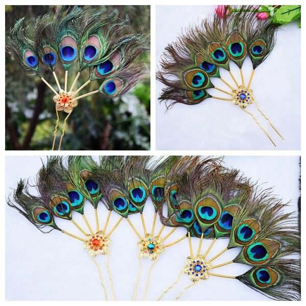 Bob Bob original peacock feather folk style characteristic diamond hair plug show headwear accessories