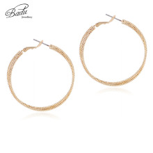 Badu Round Hoop Earring Gold Silver Twisted Metal Earrings for Women Big Exaggerated Sawtooth Circle Jewelry Wholesale