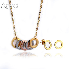 A&N Titanium Steel Women Accessories Jewelry Sets Punk Rock Western Romantic Engagement Wedding Round Jewelry Sets With Chain