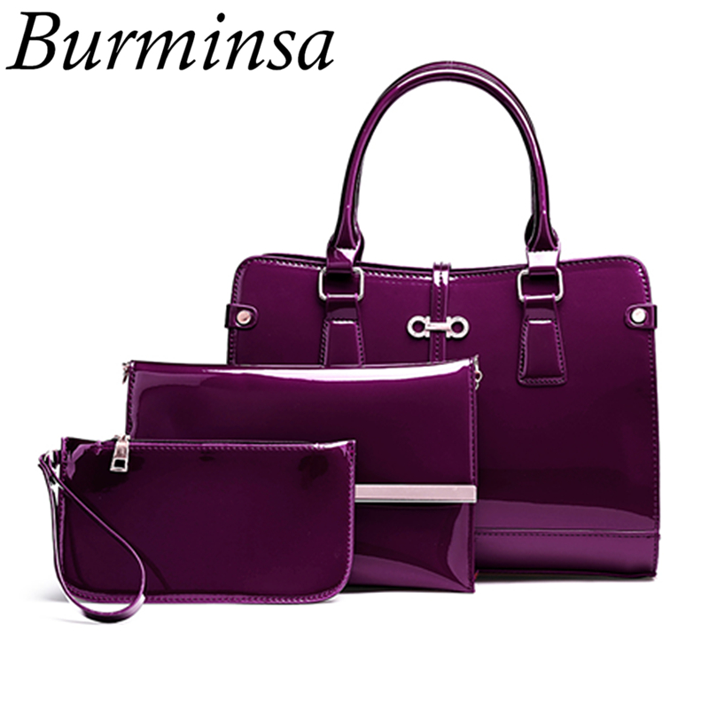 Burminsa Women Patent Leather Composite Bags Ladies Large Handbags Designer Brand High Quality Chain Shoulder Bags Small Wallet burminsa brand winter round saddle genuine leather bags smiley designer handbags high quality shoulder crossbody bags for women