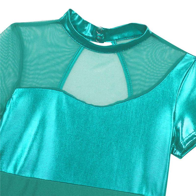 Çocuk Kız Parlak Metalik Mesh Splice Kesme Geri Bale Dans Jimnastik Leotard Tek Parça Mayo Çocuklar için Dans Giyim