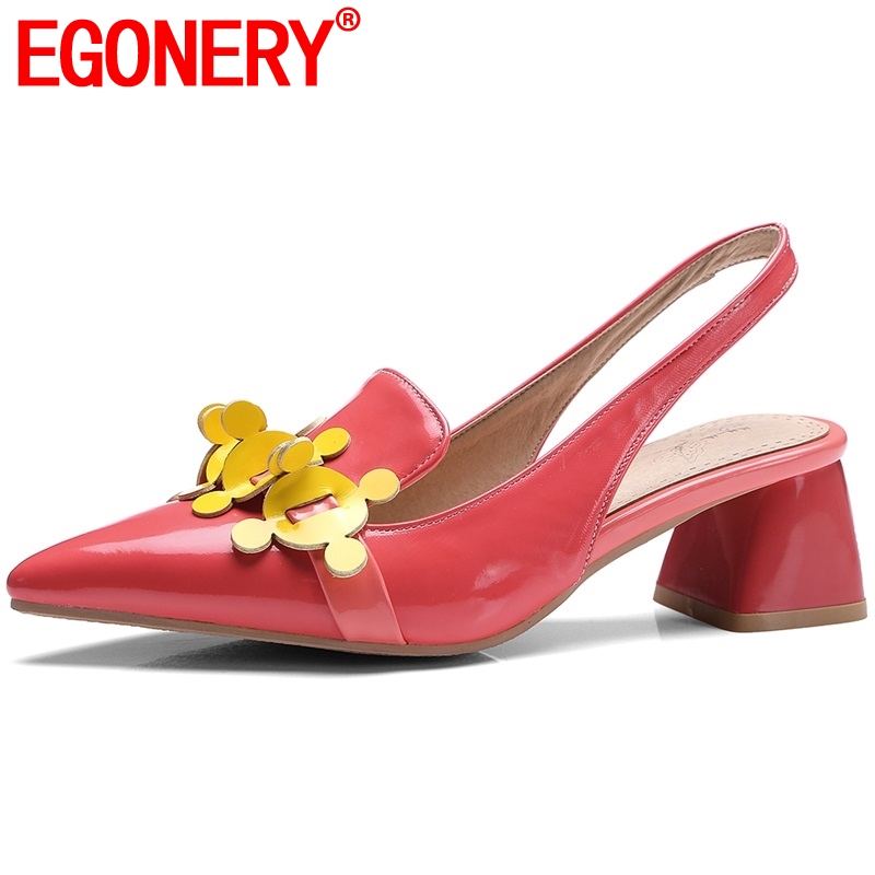 EGONERY womens new heels shoes back strap pointed toe brand shoes 2019 spring new style thick heel woman fashion party footwearEGONERY womens new heels shoes back strap pointed toe brand shoes 2019 spring new style thick heel woman fashion party footwear