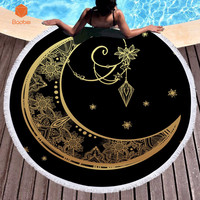Gold moon Bath Towel Microfiber Fabric Thicking Round with tassel Printed Beach Towel Fabric Towel Tapestry Yoga Mat 600g YJ59