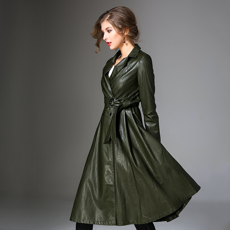 Women Full Sleeve Trench Coat Winter Black PU Leather Trench Coat Waistband Europe Style PU OverCoat Large Swing Trench Coats