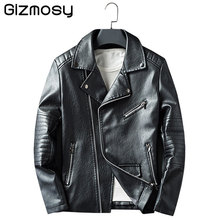 2017 New Leather Jacket Men Casual Coats Spring Autumn PU Leather Motorcycle Jacket Male Slim Outwears