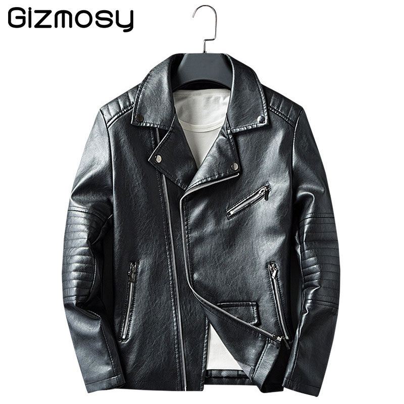 2017 New Leather Jacket Men Casual Coats Spring Autumn PU Leather font b Motorcycle b font