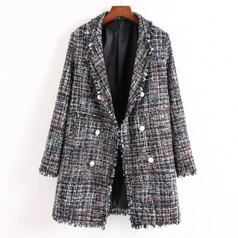 US $34.28 15% OFF|Candigan Style Womens Tweed Plaid Coats Jackets Spring Autumn Winter Long Trench Coat Women Loose Manteau Femme Beading Tassel in