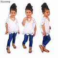 Niosung Fashion 3Pcs Baby Girls White Lace Shirt + Cotton Vest + Denim Pants Set Kids Child Clothes Outfits Suit v