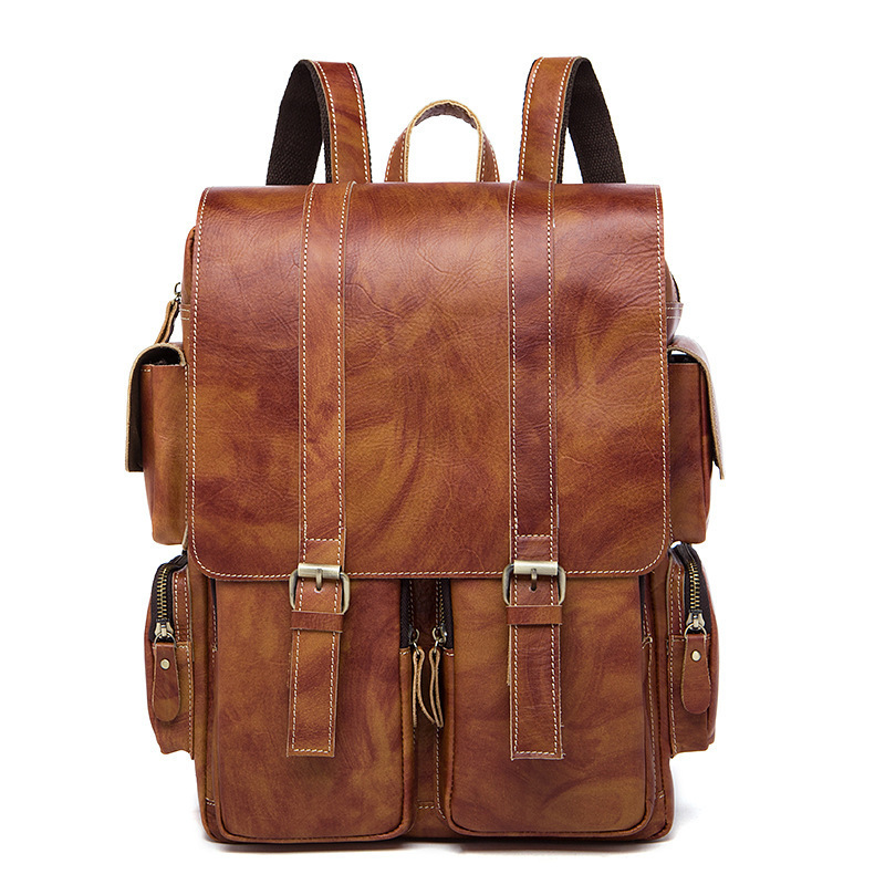 Luxury Genuine cowhide Leather Backpack Brand Design student bag fashion vintage Women School Bag Retro Fashion Women Backpack