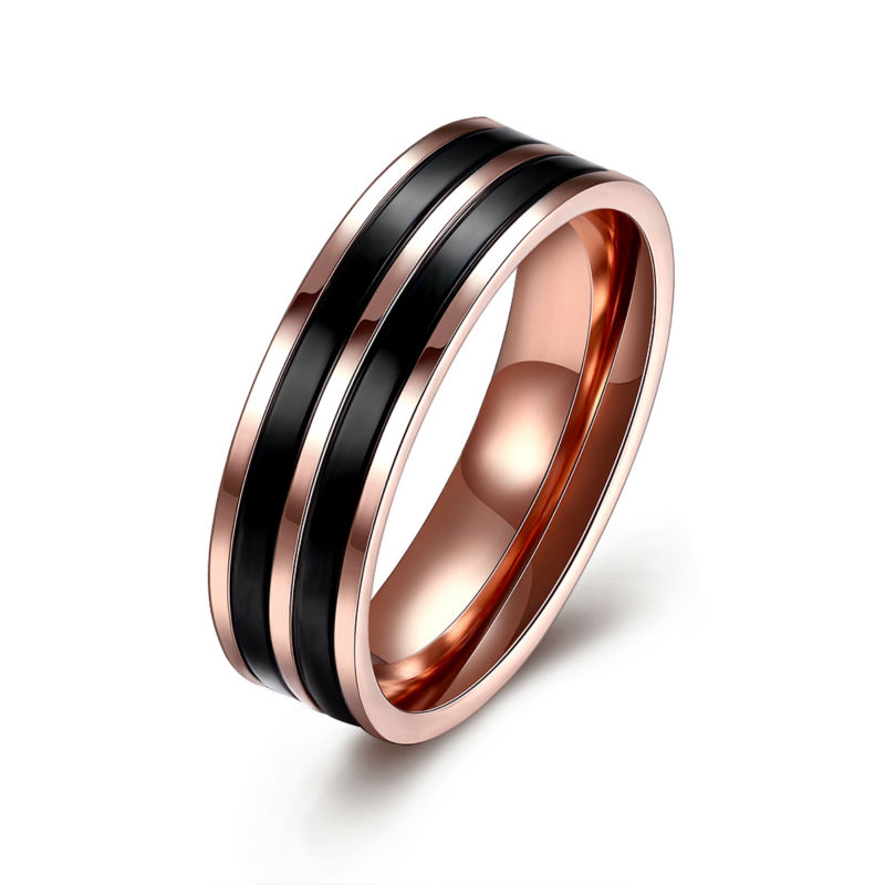 New Snap Jewelry Two Black Striped Rose Gold Cover Titanium Stainless Steel Rings 6MM Band Wedding Finger Ring Man Carter Ring