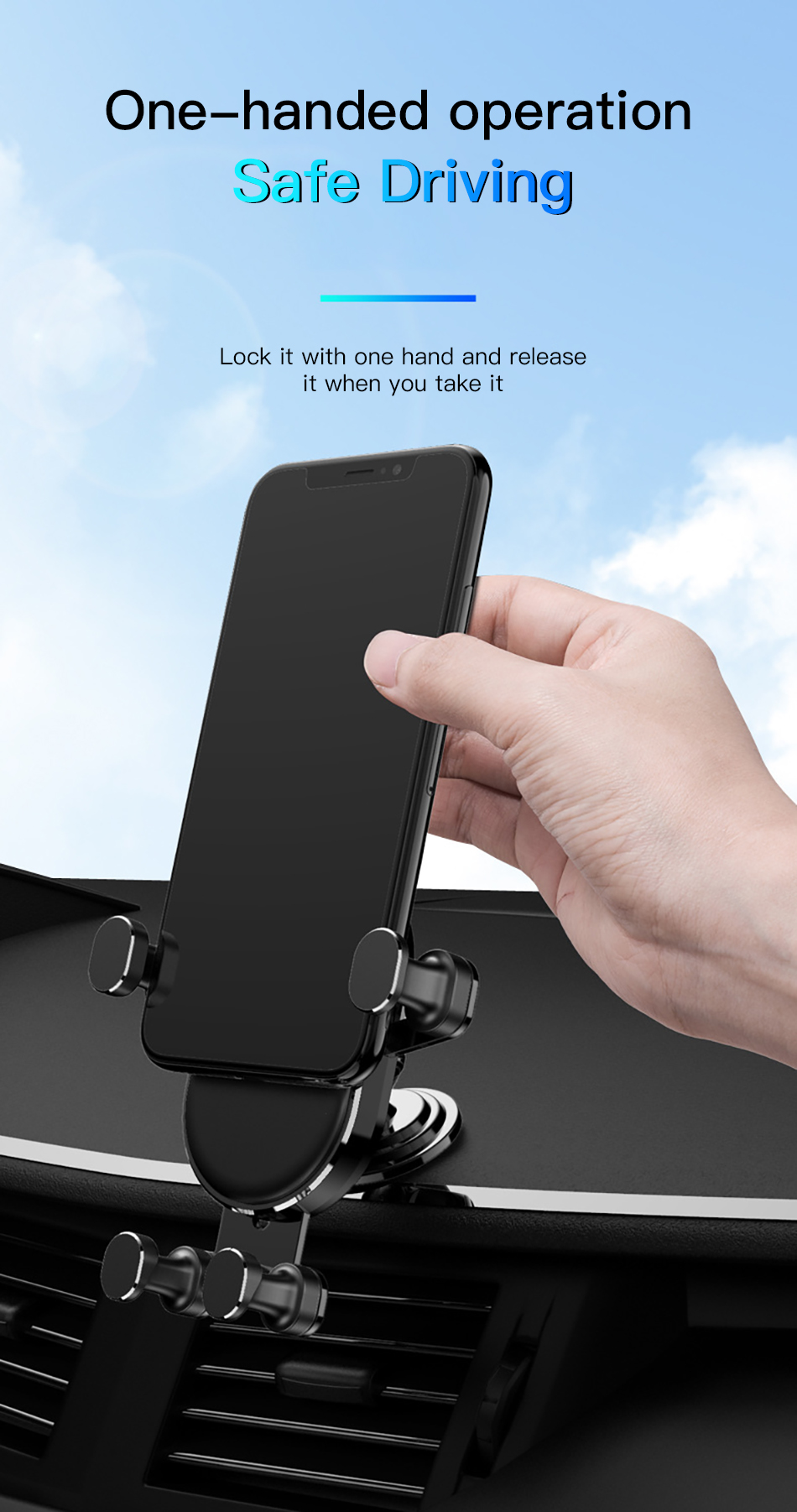 !ACCEZZ Gravity Car Phone Holder Air Vent Mount Mobile Phone Holder Universal For iphone XS MAX Xiaomi Mix 3 Bracket Support GPS (3)