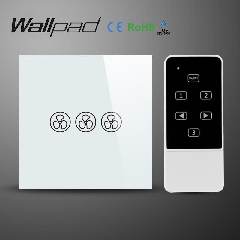 Wallpad 86 EU UK Standard Wifi Fan Speed Switch, White Crystal Glass Wireless Remote control wall Fan touch switch,Free Shipping wallpad 118 us au standard crystal glass black wifi fan speed switch wireless remote control wall fan touch switch free shipping