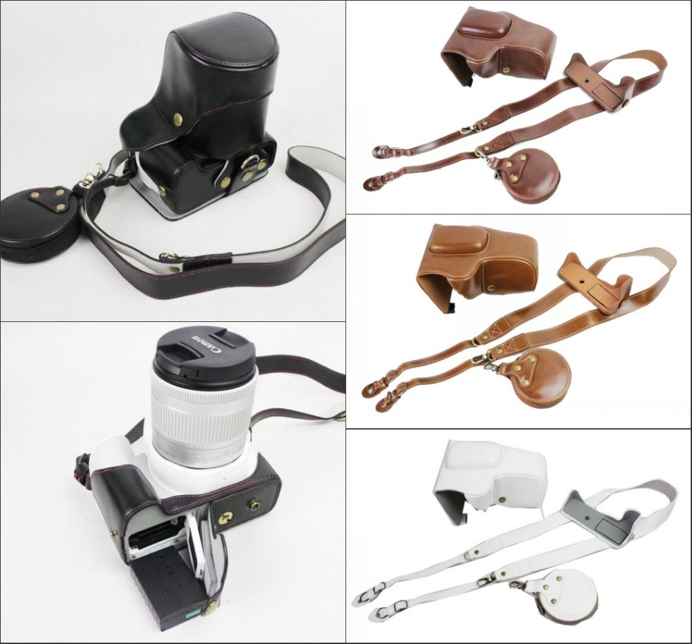 New Luxury Pu Leather Camera Case Bag For Canon EOS 200D Camera Cover With Strap Mini