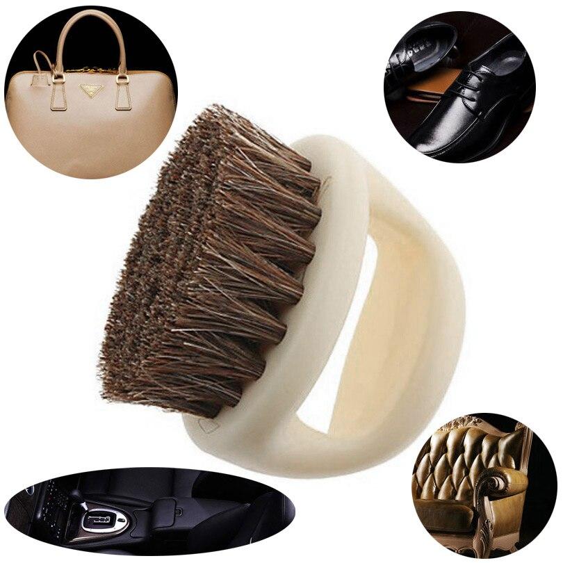 1 Piezas Portátil En Forma De Herradura Pelo De Cerdo Zapatos De Cuero De Zapato De Brillo Cuidado Limpieza Pulido Polvo Casa Cepillo Limpiador Herramientas Bienes De Conveniencia