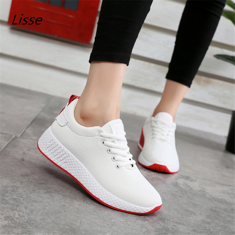 2018 new arrivals women casual shoes breathable fashion white colors women sneakers shoes laces tenis feminino Zapatos de mujer