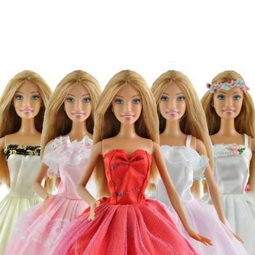 5/Set Randomly Chosen Doll Sized Gown for Barbie Doll  Excessive High quality Handmade Robe Night Wedding ceremony Fairy Gown Scorching Promoting