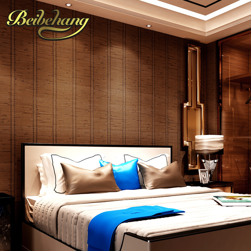 beibehang  wall paper Pune Southeast Asian style straw texture vertical striped classic wallpaper paved den restaurant backdrop