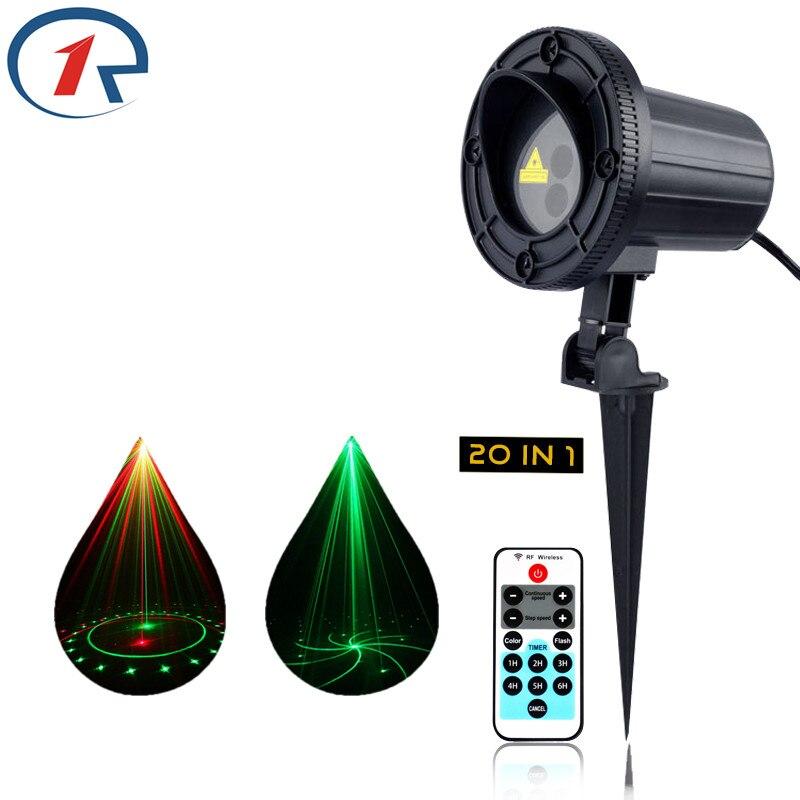 ZjRight laser party light IR Remote Red Green 20 pattern Waterproof Outdoor garden indoor lamp Bar dj Xmas ktv disco stage light