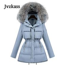 Jvzkass новая Меховая зимняя куртка женская парка с белым утиным пухом куртка с воротником из меха енота Женское зимнее пальто женские парки Z23